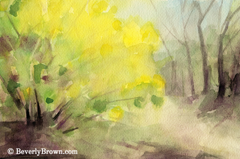 Forsythia Central Park Watercolor Landscape Painting - Beverly Brown Art Prints