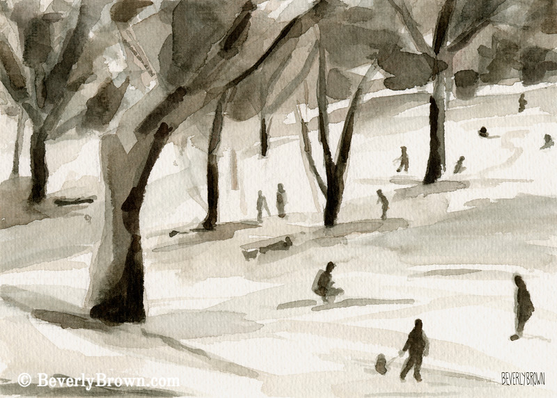 Sledding in the Snow Winter Scene Painting - Beverly Brown Art Prints