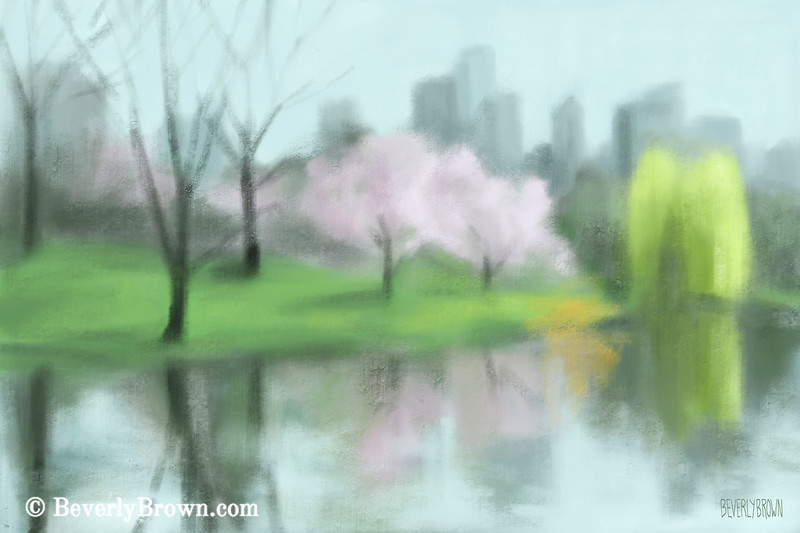 Painting of Central Park in Spring Painting - Beverly Brown Art Prints