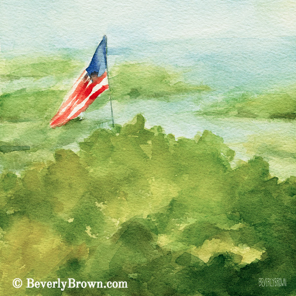 Cape Cod Beach with American Flag Painting - Beverly Brown Art Prints
