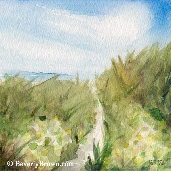Footpath through Dunes Cape Cod Beach Painting - Beverly Brown Art Prints