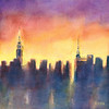 NYC Skyline Sunset After the Rain - Beverly Brown Prints