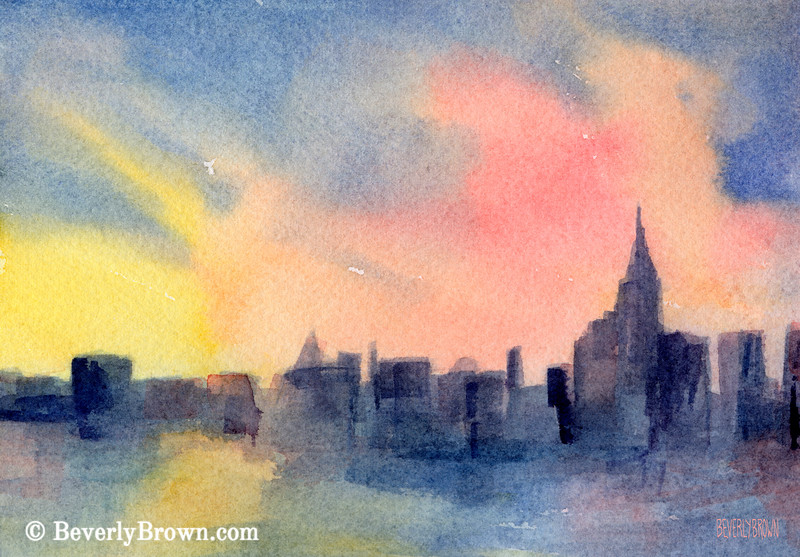 New York Skyline Empire State Building Pink + Yellow Painting - Beverly Brown Art Prints