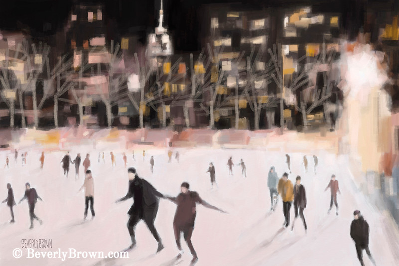 Bryant Park Ice Skaters at Night NYC - Beverly Brown Prints