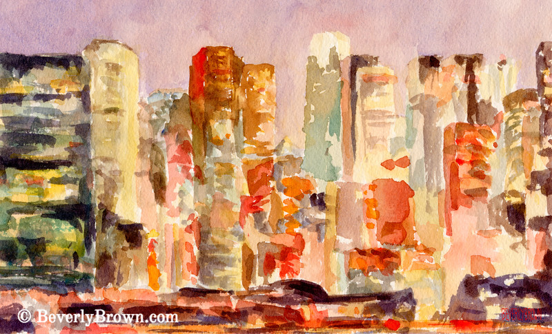 Midtown Manhattan Skyline Dusk Watercolor Painting NYC Art - Beverly Brown Art Prints