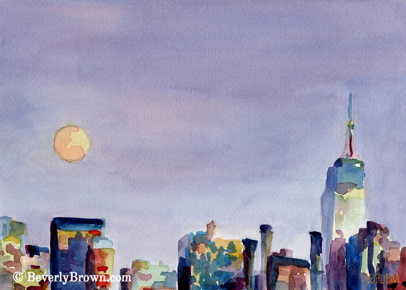Full Moon Empire State Building New York Skyline Art - Beverly Brown Art Prints