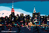 New York Skyline Dusk (Navy, Teal, Pink) - Beverly Brown Prints