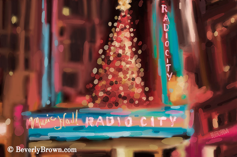 Radio City Music Hall Christmas NYC - Beverly Brown Art Prints