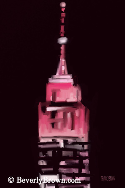 Pink Empire State Building New York at Night - Beverly Brown Prints