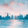 New York City Skyline Coral and Aqua