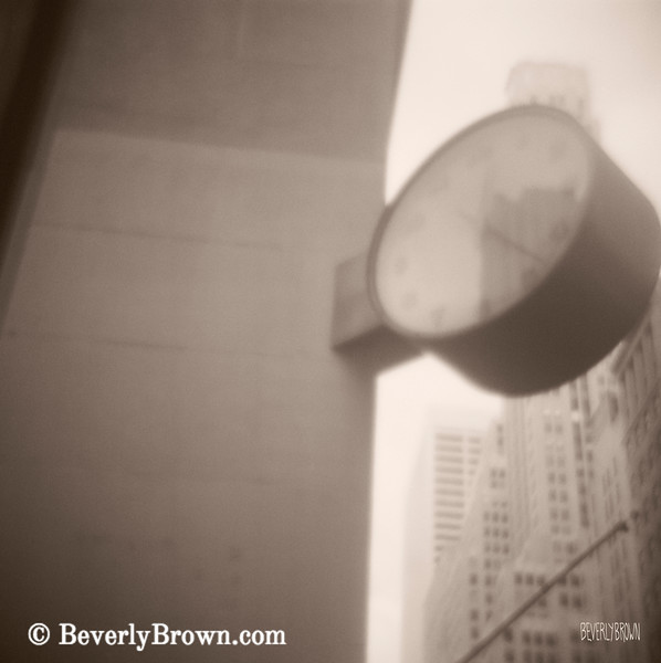 Clock 42nd Street Sepia Photograph - Beverly Brown Art Prints