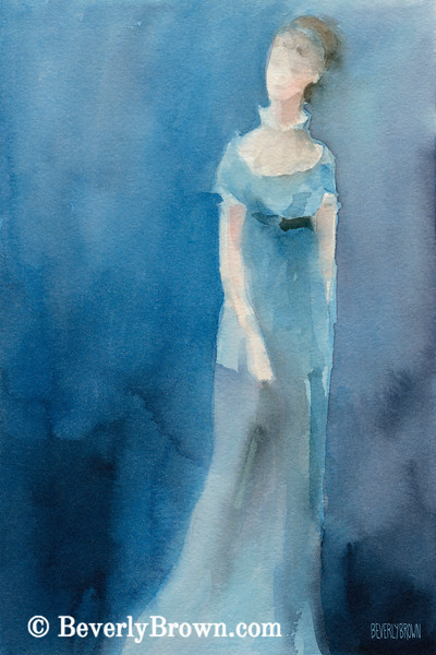 Jane Austen Watercolor Painting - Beverly Brown Art Prints