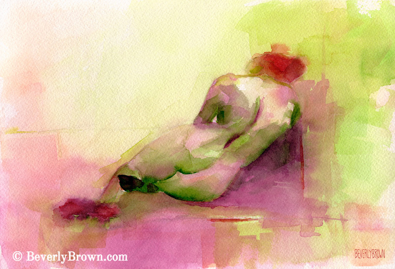Reclining Woman Magenta, Chartreuse, Orange - Beverly Brown Art Prints