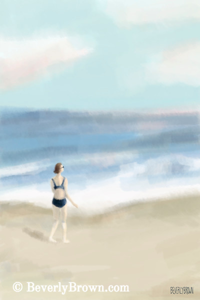 Woman by the Sea Digital Painting - Beverly Brown Art Prints