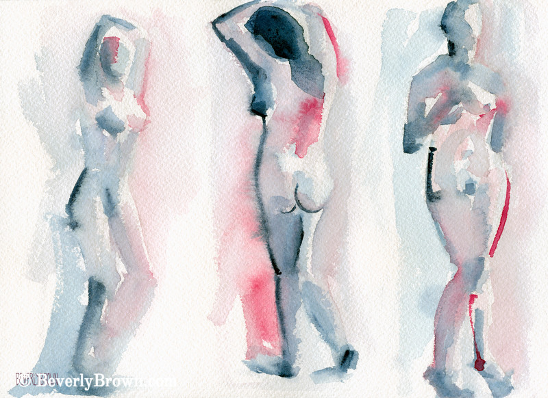 Three Women Pink + Blue Watercolor - Beverly Brown Art Prints
