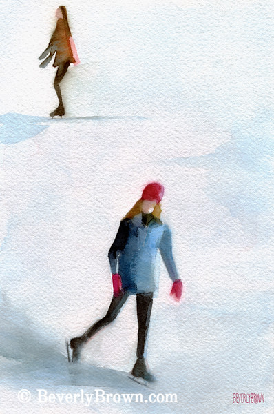 Two Girls Ice Skating Watercolor Painting - Beverly Brown Art Prints