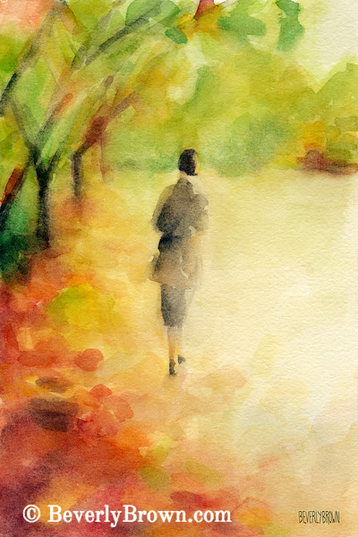 Woman Walking Autumn Landscape Painting - Beverly Brown Art Prints
