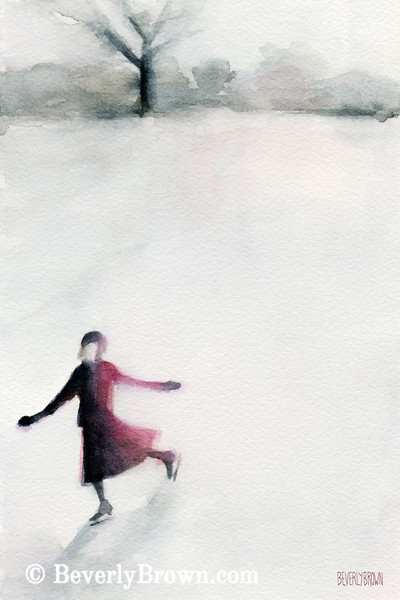 Young Woman Ice Skating Watercolor Painting - Beverly Brown Art Prints