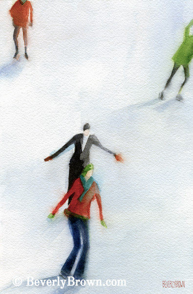 Ice Skaters Watercolor Painting - Beverly Brown Art Prints
