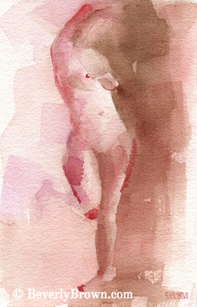 Standing Nude Figure Red Brown Magenta - Beverly Brown Art Prints