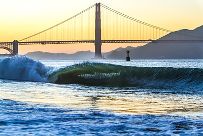 A rare barreling wave breaking in the San Francisco Bay