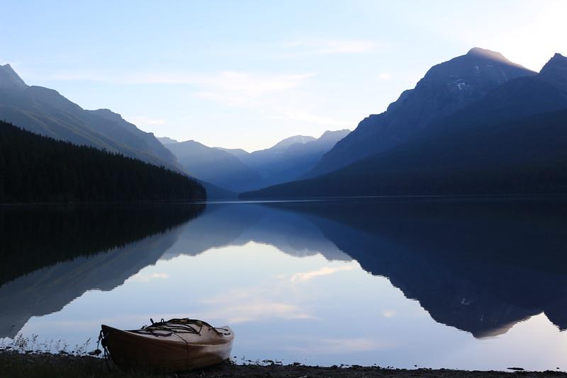Morning on Bowman Lake 1<br /> Glacier NP.
