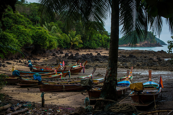 Traditional longtail boats just outside the sea gypsy village in Koh Lanta