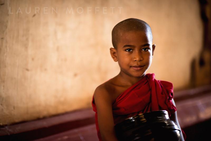 A young Burmese monk in Old Bagan, Myanmar