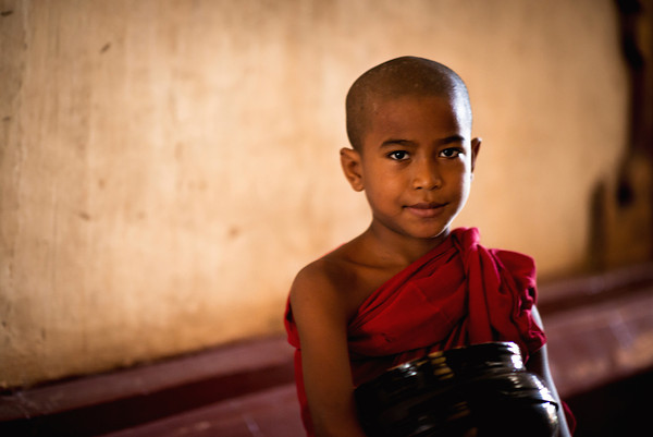 A young Burmese monk in Old Bagan, Myanmar