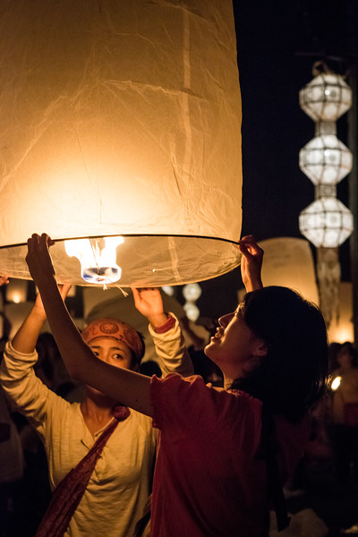 Releasing the Lanterns, Yi Peng Festival, Chiang Mai