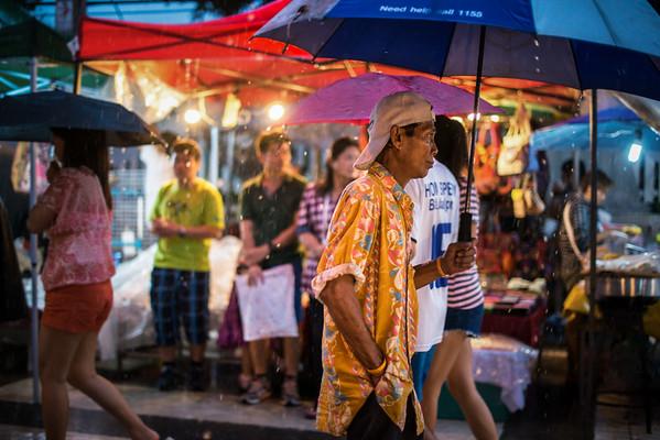 Rainy night at the walking market, Chiang Mai