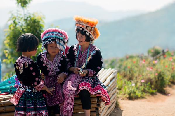 Hill Tribe Girls in Mae Rim, Thailand