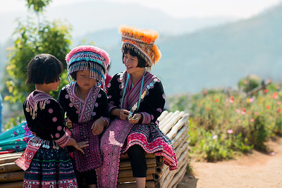 Hill Tribe Girls in Mae Rim, Thailand