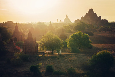 Magical silhouettes on a beautiful morning in Bagan, Myanmar