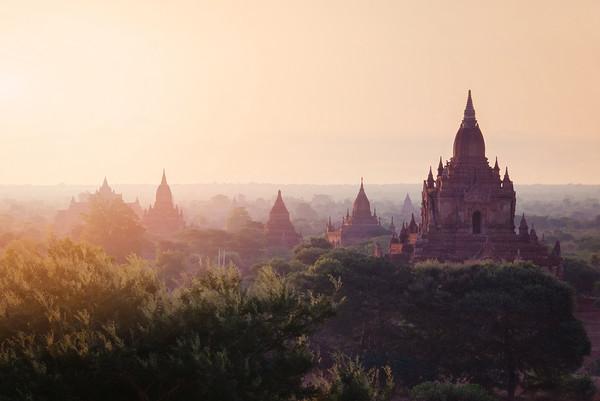 Mystical sunrise in Old Bagan, Myanmar