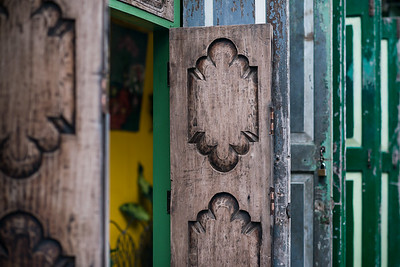 Eye-catching doors in an old alley