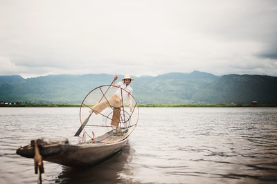 A young Burmese fisherman on Inle Lake, Myanmar