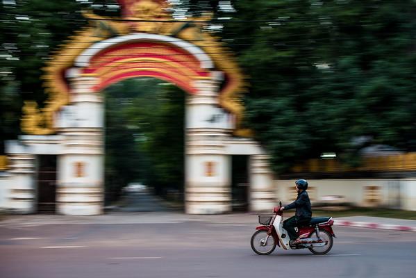 Pan shot in the city of Vientiane, Laos
