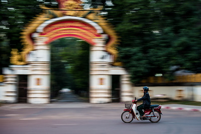 Pan shot in the city of Vientiane, Laos