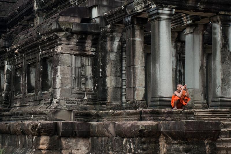 Pensive monk in Siem Reap, Cambodia