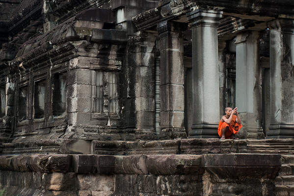 Pensive monk in Siem Reap, Cambodia