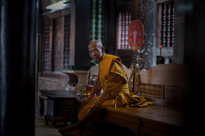 Monk, resting in a temple