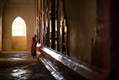 An elderly monk in Old Bagan, Myanmar