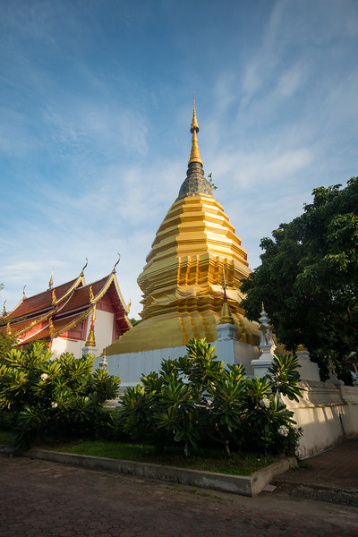 A golden chedi, built around the ashes of monks in Chiang Mai