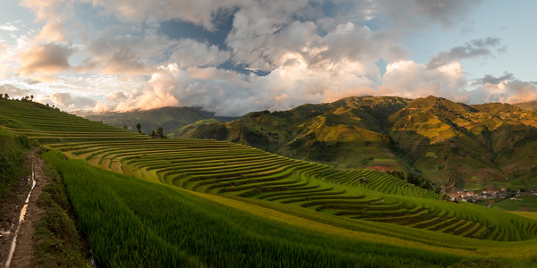 Sunset over rice terraces