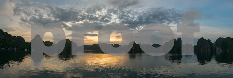 Panoramic sunset over HaLong Bay