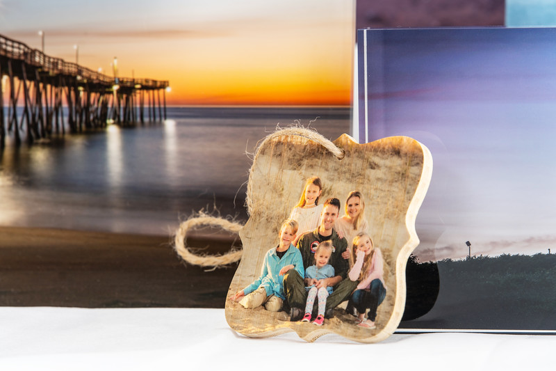 Once you've had your family photos done, well a Christmas tree ornament is a must! They are available in different shapes and are printed on bamboo on both sides with different photos.