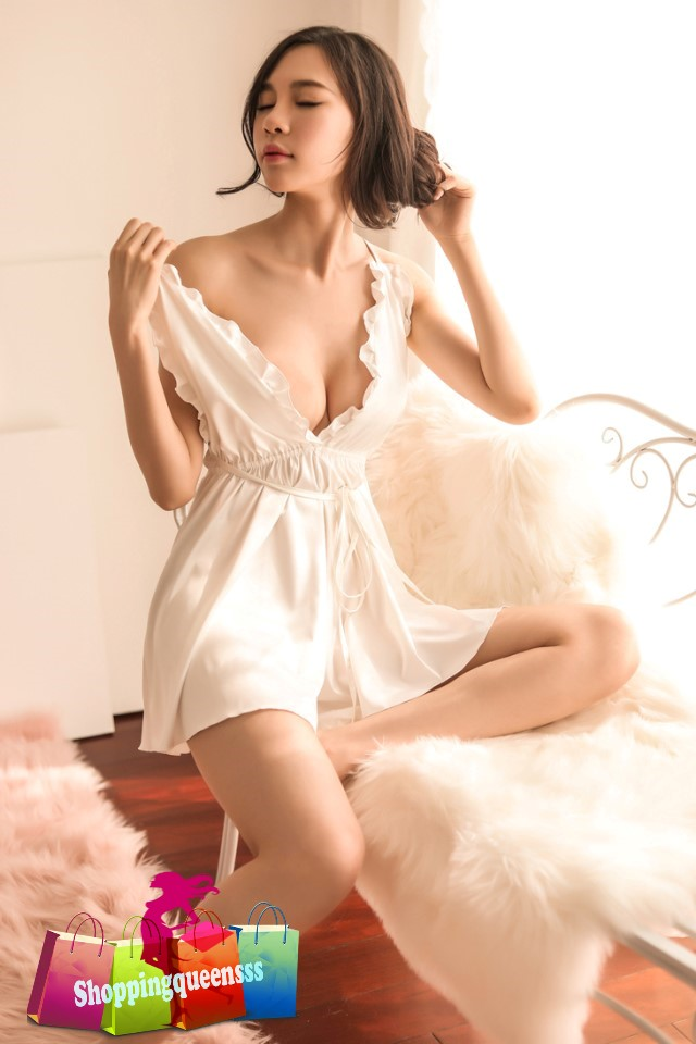 Sexy Lingerie White Satin Deep V Dr (end 4 12 2021 12 00 AM) f355def78