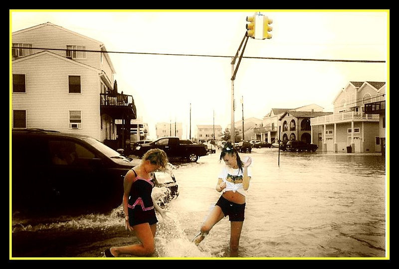 Casey and Amber playing in the flood.