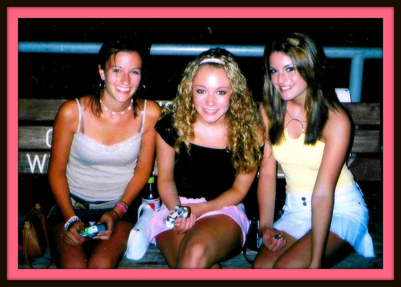 Rachael, Casey, and Amber hanging out on the promenade at night...the usual!